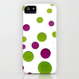 Merry Dots For Christmas With Random Green and Magenta Ink Polka Dots iPhone Case