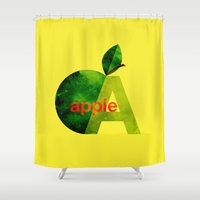 apple Shower Curtains featuring apple by John Beswick