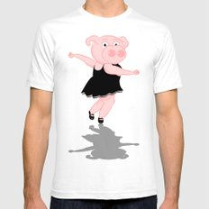 Pig Ballerina White SMALL Mens Fitted Tee