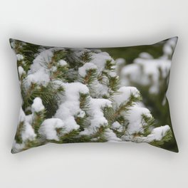Snowy Cedar Tree Rectangular Pillow