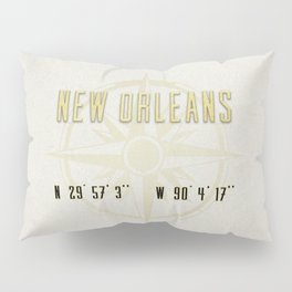 New Orleans - Vintage Map and Location Pillow Sham