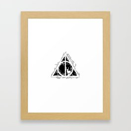 Deathly Hallows - brenches and stag - voids and silhouette (black) - Expecto Patronum | potterheads Framed Art Print