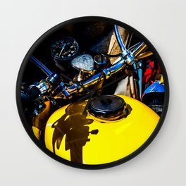 Details Of A Vintage Motorbike Color Wall Clock