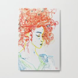 Curly Haired Fae Metal Print