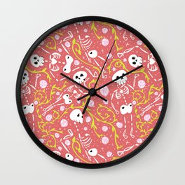 Skeletons in Spring - sunglo red - white Wall Clock