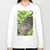 sloths Long Sleeve T-shirts featuring Sloths in Nature by Amber Galore Design