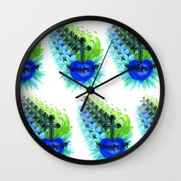 Sacred Heart, blue Wall Clock