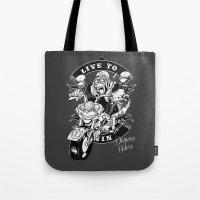 moto Tote Bags featuring Moto Demons by Luiz Fogaça