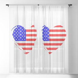 Stars and Stripes Heart Sheer Curtain