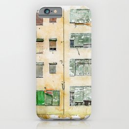 Aquarelle sketch art. Colorful houses in Girona, Catalonia, Spain iPhone Case