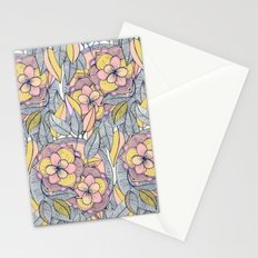 Pink and Peach Linework Floral Pattern Stationery Cards