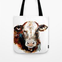 craftberrybush Tote Bags featuring  Cow watercolor by craftberrybush