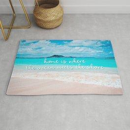 Hawaii ocean & sandy beach | Home is where the ocean meets the shore Rug