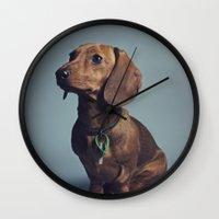 dachshund Wall Clocks featuring Dachshund by RikkiB