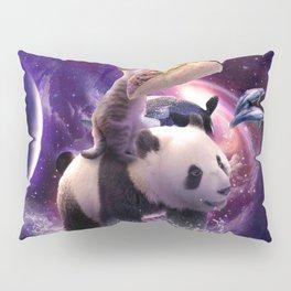 Rainbow Laser Space Cat On Panda Eating Taco Pillow Sham