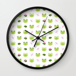 Frogs, Dragonflies and Lilypads on White Wall Clock