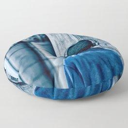 Man headset blue Floor Pillow