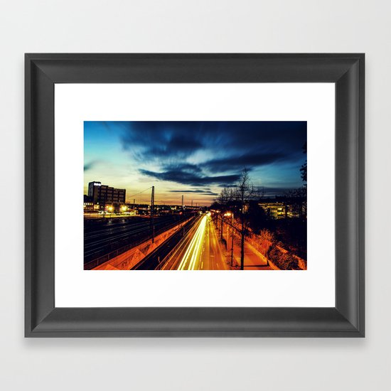 Burning Streets Framed Art Print