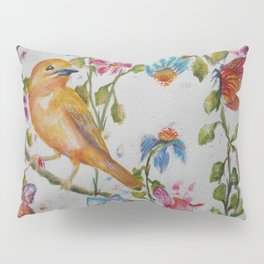 YELLOW BIRD WITH WHIMSICAL FLOWERS AND BUTTERFLIES Pillow Sham