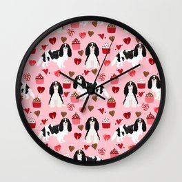 Cavalier King Charles Spaniel tricolored valentines day cupcakes dog breed spaniels pet gifts Wall Clock