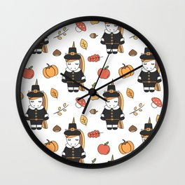 cartoon thanksgiving pattern with pilgrim unicorns, pumpkins, apples, pears, leaves and acorns Wall Clock