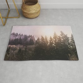 Magickal Mountain Forest Sunset Rug