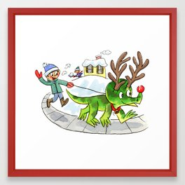Rudolph the Red-Nosed Triceratops Framed Art Print