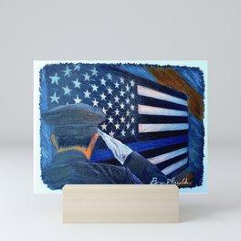 """Stay Safe"" Thin Blue Line - Police - Law Enforcement - Original Art Drawing by Bryn Reynolds Mini Art Print"
