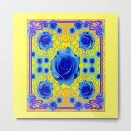 Yellow Gold Art Noveau Blue Roses Art Metal Print
