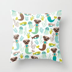Quirky pugs and mermaids under water world Throw Pillow
