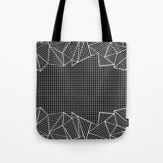 Grids And Stripes Black Tote Bag