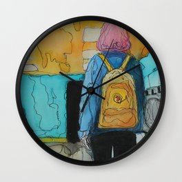 The Girl With the Yellow Backpack Wall Clock