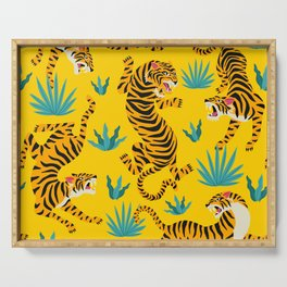 Yellow Tiger Tropical Pattern Serving Tray
