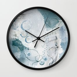 Abstract - Circulating - Richly Textured Design in Aqua Blue and Teal Wall Clock