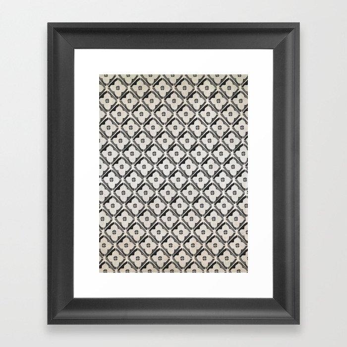 Moroccan Boho Black & White Pattern Gerahmter Kunstdruck