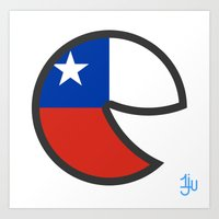 chile Art Prints featuring Chile Smile by onejyoo