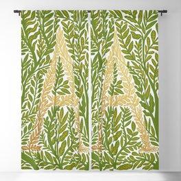 Botanical Metallic Monogram - Letter A Blackout Curtain