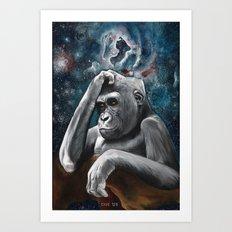 Gorilla in the Universe Art Print
