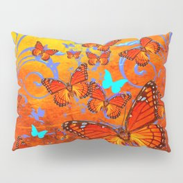 Decorative Orange Monarch  Butterflies with Yellow-Turquoise Pillow Sham