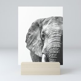Black and White Elephant Close-Up Photography Art Mini Art Print