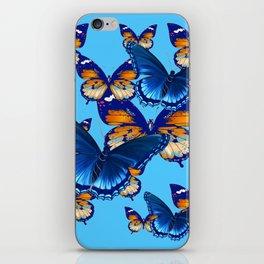 MODERN ART DECORATIVE BLUE-BROWN  BUTTERFLIES iPhone Skin