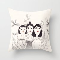 sisters Throw Pillows featuring Sisters by Charline Denys