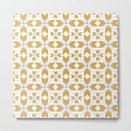 Geometric Art, Aztec Prints, White, Yellow, Gray Metal Print
