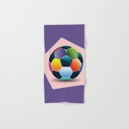 Soccer ball inside pink pentagon Hand & Bath Towel