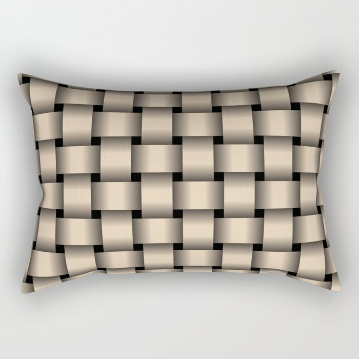 Bisque Brown Weave Rectangular Pillow