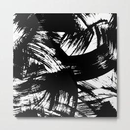 Black hand painted watercolor brushstrokes pattern Metal Print
