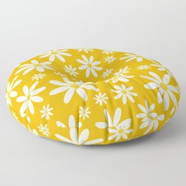 Retro Groovy Daisy Flower Power Vintage Pattern in Ivory, Golden Yellow Mustard Color, Oil Texture Floor Pillow