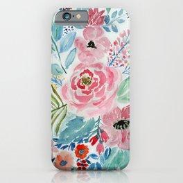 Pretty watercolor hand paint floral artwork. iPhone Case