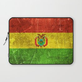 Vintage Aged and Scratched Bolivian Flag Laptop Sleeve