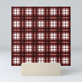 Merlot Red Gingham Checkered Plaid  Mini Art Print